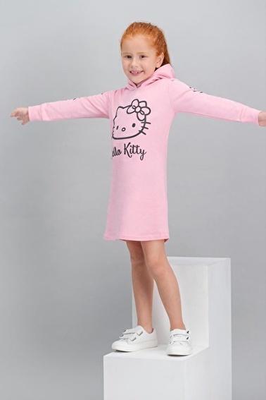 Hello Kitty Hello Kitty Lisanslı Açık Pembe Kız Çocuk Kapüşonlu Elbise Pembe